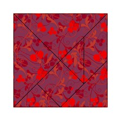 Red Floral Pattern Acrylic Tangram Puzzle (6  X 6 ) by Valentinaart