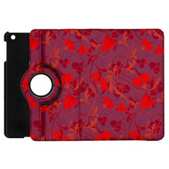 Red Floral Pattern Apple Ipad Mini Flip 360 Case by Valentinaart