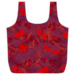 Red Floral Pattern Full Print Recycle Bags (l)  by Valentinaart