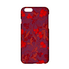 Red Floral Pattern Apple Iphone 6/6s Hardshell Case by Valentinaart
