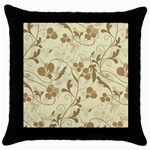 Floral pattern Throw Pillow Case (Black) Front