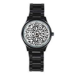 Animal Print Stainless Steel Round Watch