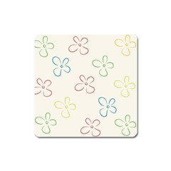 Flower Background Nature Floral Square Magnet by Simbadda