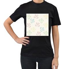 Flower Background Nature Floral Women s T Shirt (black) (two Sided)