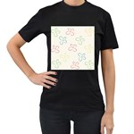 Flower Background Nature Floral Women s T-Shirt (Black) (Two Sided) Front
