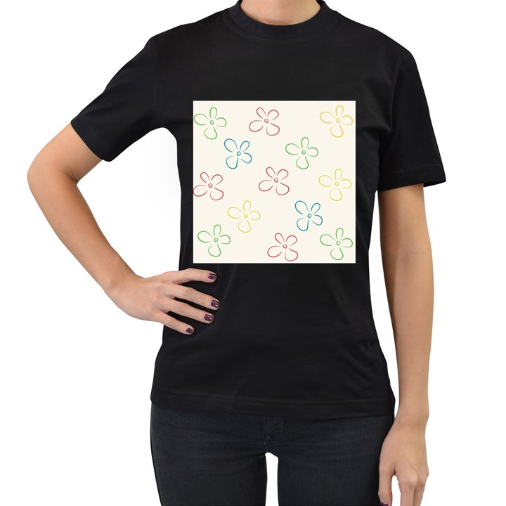 Flower Background Nature Floral Women s T-Shirt (Black) (Two Sided)