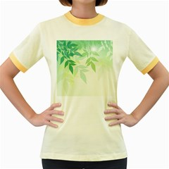 Spring Leaves Nature Light Women s Fitted Ringer T Shirts by Simbadda