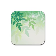 Spring Leaves Nature Light Rubber Coaster (square)  by Simbadda