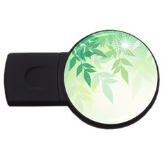 Spring Leaves Nature Light Usb Flash Drive Round (4 Gb) by Simbadda