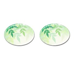 Spring Leaves Nature Light Cufflinks (oval) by Simbadda