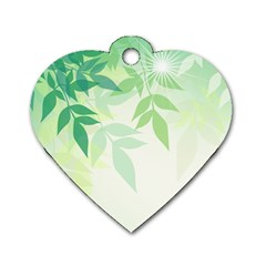 Spring Leaves Nature Light Dog Tag Heart (two Sides) by Simbadda