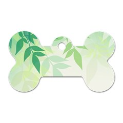 Spring Leaves Nature Light Dog Tag Bone (two Sides) by Simbadda
