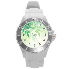 Spring Leaves Nature Light Round Plastic Sport Watch (l) by Simbadda