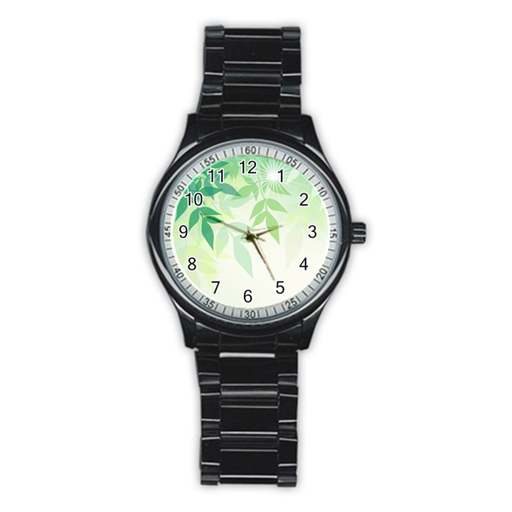 Spring Leaves Nature Light Stainless Steel Round Watch