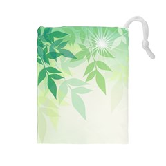 Spring Leaves Nature Light Drawstring Pouches (large)  by Simbadda