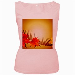 Background Leaves Dry Leaf Nature Women s Pink Tank Top