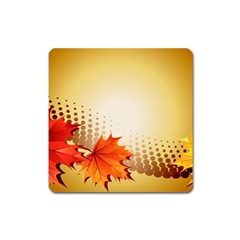 Background Leaves Dry Leaf Nature Square Magnet by Simbadda