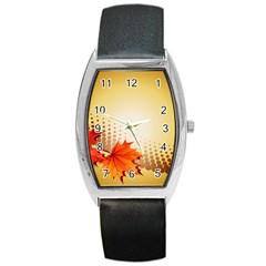 Background Leaves Dry Leaf Nature Barrel Style Metal Watch by Simbadda
