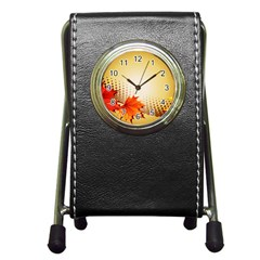 Background Leaves Dry Leaf Nature Pen Holder Desk Clocks by Simbadda