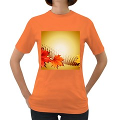Background Leaves Dry Leaf Nature Women s Dark T Shirt by Simbadda