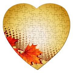 Background Leaves Dry Leaf Nature Jigsaw Puzzle (heart)