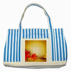 Background Leaves Dry Leaf Nature Striped Blue Tote Bag by Simbadda
