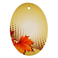 Background Leaves Dry Leaf Nature Oval Ornament (two Sides) by Simbadda