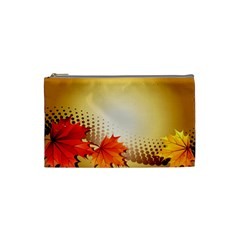 Background Leaves Dry Leaf Nature Cosmetic Bag (small)