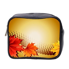 Background Leaves Dry Leaf Nature Mini Toiletries Bag 2 Side by Simbadda