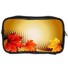 Background Leaves Dry Leaf Nature Toiletries Bags by Simbadda