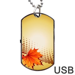 Background Leaves Dry Leaf Nature Dog Tag Usb Flash (one Side) by Simbadda
