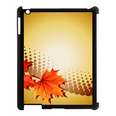 Background Leaves Dry Leaf Nature Apple Ipad 3/4 Case (black) by Simbadda