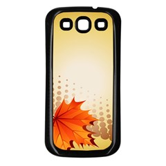Background Leaves Dry Leaf Nature Samsung Galaxy S3 Back Case (black) by Simbadda