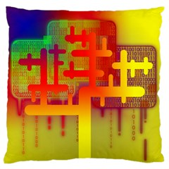 Binary Binary Code Binary System Large Flano Cushion Case (two Sides) by Simbadda