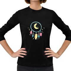 Cute Hand Drawn Dreamcatcher Illustration Women s Long Sleeve Dark T Shirts by TastefulDesigns