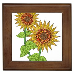 Sunflowers Flower Bloom Nature Framed Tiles by Simbadda