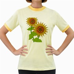 Sunflowers Flower Bloom Nature Women s Fitted Ringer T Shirts by Simbadda