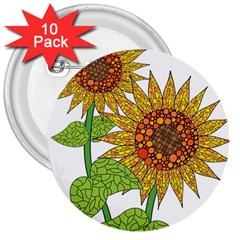 Sunflowers Flower Bloom Nature 3  Buttons (10 Pack)  by Simbadda