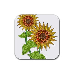 Sunflowers Flower Bloom Nature Rubber Coaster (square)