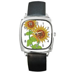 Sunflowers Flower Bloom Nature Square Metal Watch by Simbadda