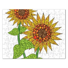 Sunflowers Flower Bloom Nature Rectangular Jigsaw Puzzl by Simbadda