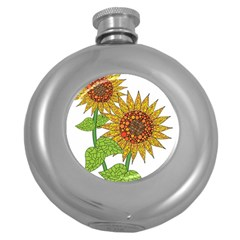 Sunflowers Flower Bloom Nature Round Hip Flask (5 Oz) by Simbadda