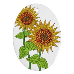 Sunflowers Flower Bloom Nature Oval Ornament (two Sides) by Simbadda