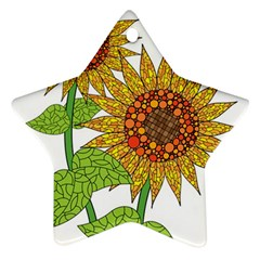 Sunflowers Flower Bloom Nature Star Ornament (two Sides) by Simbadda