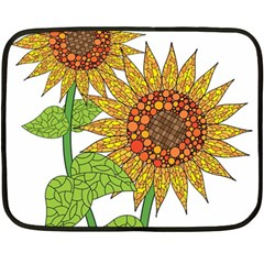Sunflowers Flower Bloom Nature Fleece Blanket (mini) by Simbadda