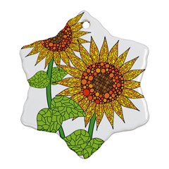 Sunflowers Flower Bloom Nature Snowflake Ornament (two Sides) by Simbadda