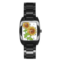 Sunflowers Flower Bloom Nature Stainless Steel Barrel Watch by Simbadda