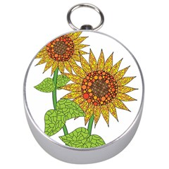 Sunflowers Flower Bloom Nature Silver Compasses by Simbadda