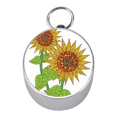 Sunflowers Flower Bloom Nature Mini Silver Compasses by Simbadda