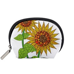 Sunflowers Flower Bloom Nature Accessory Pouches (small)  by Simbadda